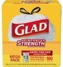 100-Count Glad ForceFlex Plus 13-Gallon Tall Trash Bags