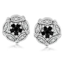 $100 off Convertible Sterling Silver Black Diamond Earrings