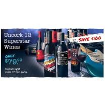 $100 off Get 12 superstar wines including 3 rock `n' roll reds + Free Shipping