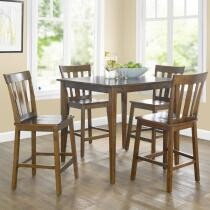 $121 Mainstays 5-Piece Mission Counter-Height Dining Set + Free 2-Day Shipping