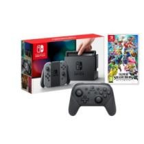 14% off Nintendo Switch Console w/ Gray Joycon Controllers, Super Smash Bros Ultimate Import Region Free & Pro Controller + Free Shipping