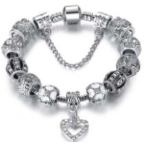 15% off 18K White Gold Plated Crystal Heart Charm Bracelet