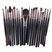15% off 20 in 1 Plastic Handle Soft Head Foundation Eye Lip Multi-function Brush Makeup Tools(Black+Coffee)