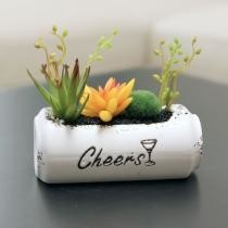 15% off Ceramic Zip-Top Can Potted Artificial Yellow Succulent Plant Home Indoor Decoration