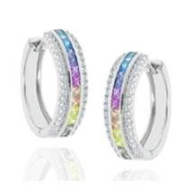 $16.99 CZ Rainbow Hoop Earrings Plated in White or Yellow Gold + Free Shipping