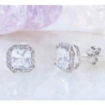 $17.99 4 Carat Crystal Cushion Cut Halo Stud Earrings + Free Shipping