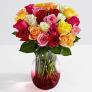 2-Dozen Colorful Roses w/ Free Red Ombre Vase