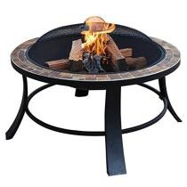 20% off Aleko FP012 Compact Round Mosaic Tile Slated Top Fire Pit Complete Kit - Brown + Free Shipping