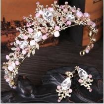 20% off Luxury Pink Gold Pearl Bridal Crowns Handmade Tiara Bride Headband
