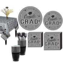20% off Party City Congrats Grad Silver Graduation Tableware Kit for 18 Guests + Free Shipping