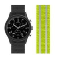 20% off Timex Men's MK1 Chrono 40mm Yellow Reflective Fabric Watch + Free Shipping