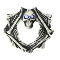 "22% off 18.5"" Ivory & Black Lighted Eyes in Skull Head Wreath Halloween Decoration + Free Shipping"
