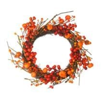 22% off Red & Orange Fall Berry & Mini Pumpkin Artificial Thanksgiving Wreath + Free Shipping