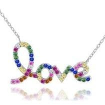 $22.99 Rainbow Script Love Crystal Necklace + Free Shipping