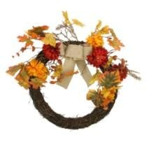"24% off 20"" Autumn Harvest Artificial Mixed Fall Leaf & Mum Flower Thanksgiving Twig Wreath + Free Shipping"