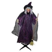 "24% off 66"" Animated Standing Witch & Broomstick Halloween Decoration w/ Sound + Free Shipping"