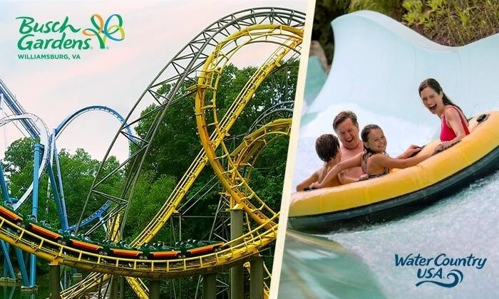 3-Day Ticket to Busch Gardens Williamsburg and Water Country USA $50