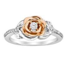 30% off Enchanted Disney Diamond Belle's Rose Fashion Ring in 10K White & Rose Gold
