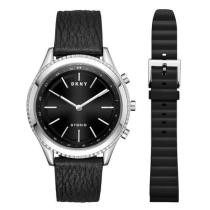 30% off Women's DKNY Minute Woodhaven Black Leather Strap Hybrid Smartwatch Gift Set