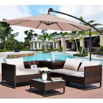 34% off Costway 10' Hanging Solar LED Patio Sun Shade w/ Base