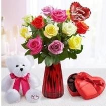 35% off 12 Stems w/ Red Vase, Balloon, Bear + Free Chocolate