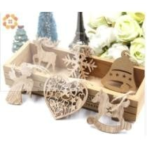 40% off 10 Pcs DIY Christmas Snowflakes & Deer & Tree Wooden Pendants Ornaments Christmas Party Decorations Xmas Tree Ornaments Kids Gifts