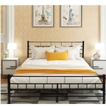 40% off Queen Wood Bedeoom Furniture Wood Slats Metal Bed Frame w/ Headboard