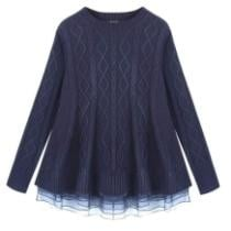 40% off Women's Iyasson Oversized Ruffle Mesh Pullover Knit Sweater