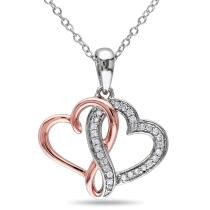 41% off 1/7 CT TW Diamond Interlocking Heart Pendant w/ Chain in Sterling Silver