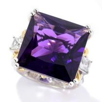 42% off Gems en Vogue Oval or Princess Namibian Amethyst & White Zircon Cocktail Ring