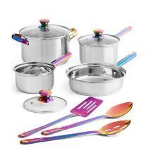 43% off Mainstays Iridescent 10 Piece Stainless Steel Cookware Set
