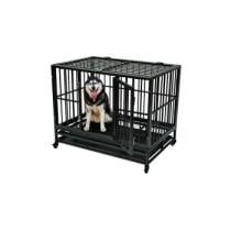 "44% off 42"" Heavy Duty Metal Dog Cage Crate Pet Trolley w/ Wheel Tray"