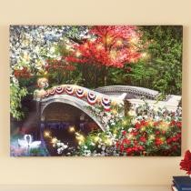 47% off Patriotic Garden Bridge Lighted Canvas Wall Art
