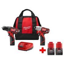 48% off Milwaukee M12 Cordless Drill Driver/Impact Driver Kit w/ 2 Free M12 1.5Ah Batteries