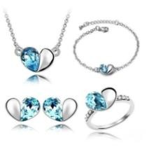 49% off Crystal Love Heart Shaped 4 Piece Jewelry Set