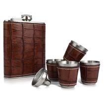 50% off 6-Piece Le Regalo Flask Set w/ Faux Leather Surface