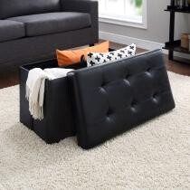 50% off Mainstays Collapsible Storage Ottoman, Quilted Black Faux Leather