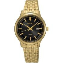 50% off Seiko Womens Stainless Steel Case &Bracelet Black Dial Gold Watch