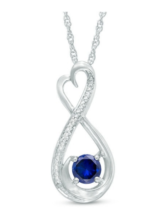 5.0mm Lab-Created Blue Sapphire and Diamond Accent Heart-Shaped Infinity Pendant: $25.99 + Free Ship To Store
