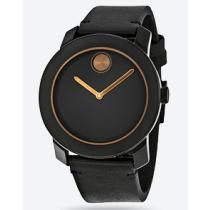 55% off Movado Bold Black Dial Black Leather Band Black Stainless Steel Case Men's Quartz Watch