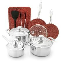 57% off Deen Brothers GranIT Stone Infused Ceramic Nonstick 12-Piece Cookware Set