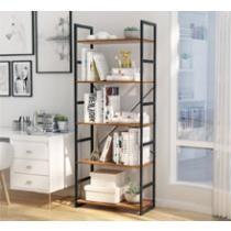 57% off LANGRIA 5-Tier Modern Industrial Bookshelf w/ Metal Frame