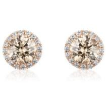 6% off 2.3 CT. T.W. Round Fancy Brown Diamond Stud Earrings in 14K Rose Gold