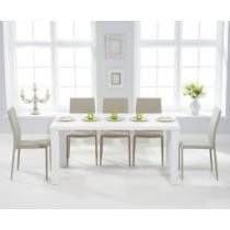60% off Atlanta White High Gloss Dining Table w/ Beige Atlanta Chairs
