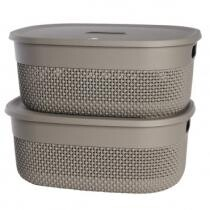 62% off 2-Pack Plastic Storage Basket by KIS - Decorative Knit Organizer + Free Shipping
