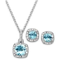 "65% off Sapphire & Diamond Accent Sterling Silver 18"" Pendant Necklace & Stud Earrings"