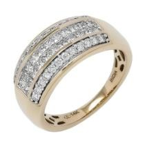 $700 off Diamond Show 14K Gold 1.00ctw Princess & Round Cut Diamond Wide Band
