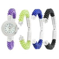 73% off Croton Women's Artisanal Quartz Mother-of-Pearl Watch w/ 4 Gemstone Bracelets