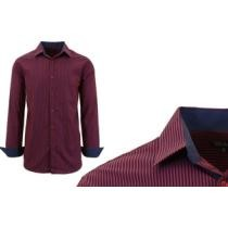 73% off Galaxy by Harvic Men's Long Sleeve Check & Pinstripe Dress Shirt