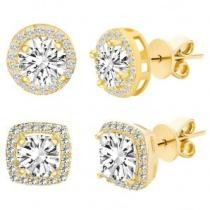 76% off 3.44 CTTW Halo Stud Earrings w/ Swarovski Crystals in Gold Plating
